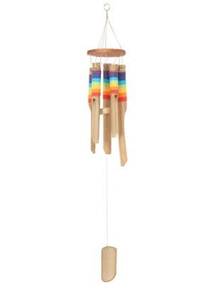 Multi-Coloured Bamboo Windchime With Thread - 35cm
