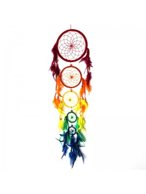 Multi Coloured Dream Catcher with Feathers - 70cm