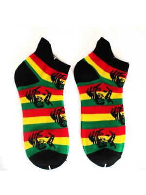 Multi Rasta Man Print Trainer Socks