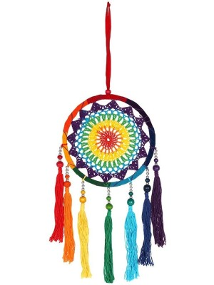 Multicoloured Rainbow String Tassel Dreamcatcher