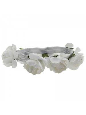 Multiuse Bracelet with Flowers on Elastic - white