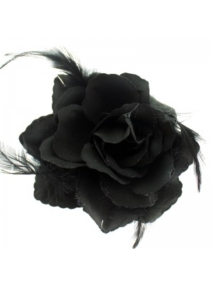 Rose Flower on Elastic - Black