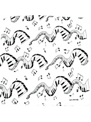 Musical Notes and Piano Design White Bandana