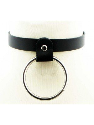Wholesale Narrow Leather Neckband With Large Ring (1.5cm)