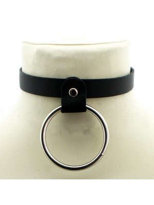 Narrow Leather Neckband With Large Ring (1.5cm)