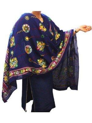 Wholesale Ladies Pure Cotton Aari Embroidery & Foil Mirrors Dupatta - Navy Blue