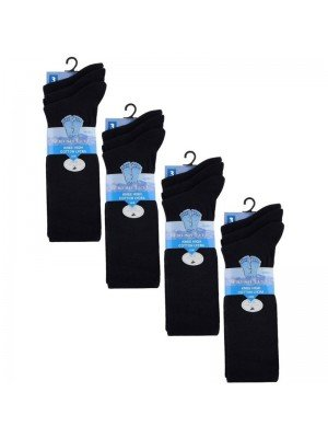 Wholesale Navy Knee High School Socks - Fresh Feel (3 Pair Pack) - (UK - 12.5-3.5)