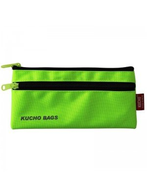 Neon Green Pencil Case With 2 Zipper Compartments