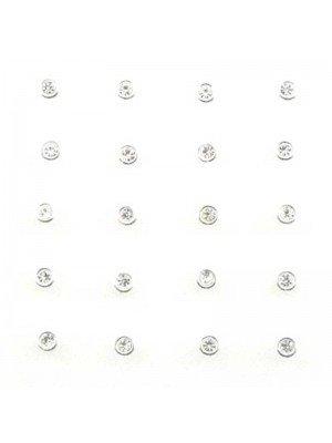 Round Gemset Nose Pins-clear 3mm