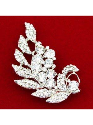 Wholesale Silver Crystal Diamante Teardrop Leaf Design Brooch