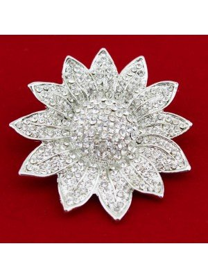 Wholesale Silver Diamante Flower Design Brooch