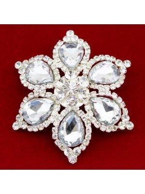 Wholesale Silver Crystal Diamante Vintage Flower Design Brooch