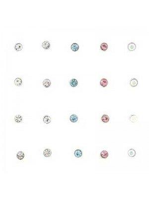 Round Gemset Nose Pins Assorted 3mm