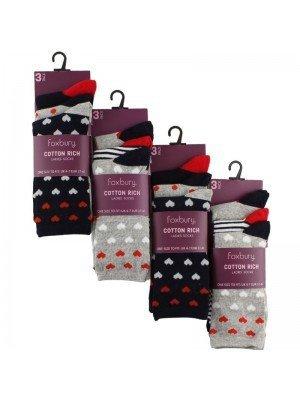 Wholesale Ladies Cotton Rich Socks - Foxbury (2 Pair Pack) - Asst.