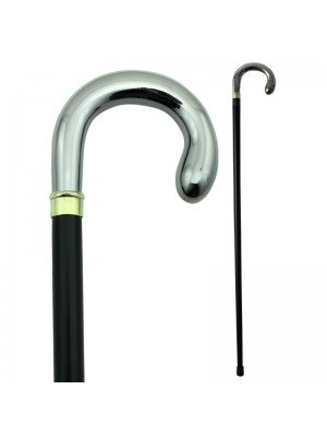 Nickle Crook Handle Walking Stick