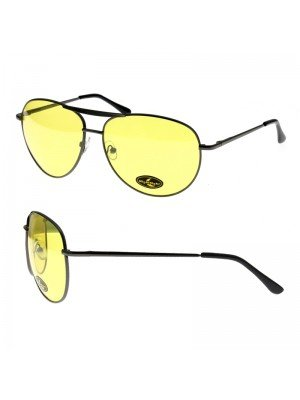 Nightsight Aviator Sunglasses (Yellow Lens) With A Pouch