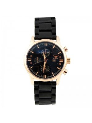 Wholesale NY London Mens 3 Dial Metal Bracelet Watch - Black/Rose Gold