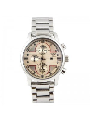 Wholesale NY London Mens 3 Dial Metal Bracelet Watch - Silver/White