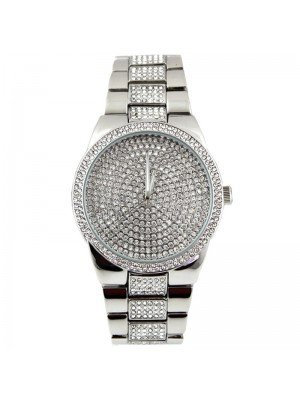 Wholesale NY London Mens Classic Bling Crystals Dial Design Watch - Silver