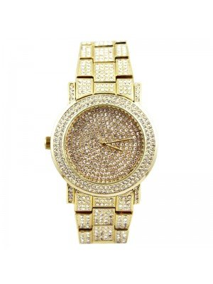 Wholesale NY London Mens Classic Bling Crystals Dial Fashion Watch - Gold