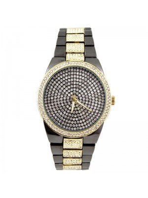 Wholesale NY London Mens Classic Bling Crystals Dial Fashion Watch - Gold/Gun Black