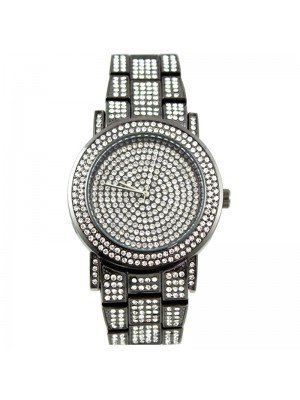 Wholesale NY London Mens Classic Bling Crystals Dial Fashion Watch - Gun Black