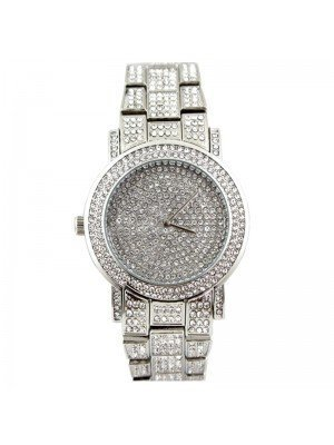 Wholesale NY London Mens Classic Bling Crystals Dial Fashion Watch - Silver