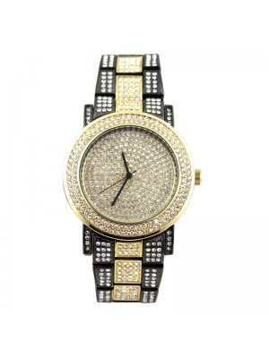 Wholesale NY London Mens Classic Bling Crystals Dial Two-Tone Fashion Watch - Gold/G-Black