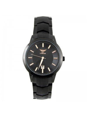 Wholesale NY London Mens Classic Date Display Metal Strap Watch - Black/Rose Gold