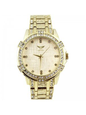 Wholesale NY London Mens Crystal Metal Bracelet Watch - Gold