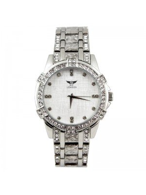 Wholesale NY London Mens Crystal Metal Bracelet Watch - Silver