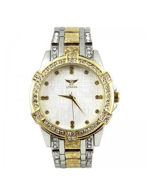 Wholesale NY London Mens Crystal Two-Tone Metal Bracelet Watch - Gold/Silver