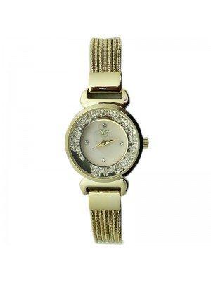 NY London Ladies Crystal Design Metal Mesh Bracelet Watch - Gold