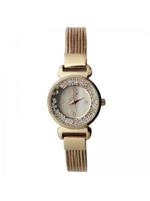 NY London Ladies Crystal Design Metal Mesh Bracelet Watch - Rose Gold