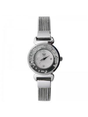NY London Ladies Crystal Design Metal Mesh Bracelet Watch - Silver