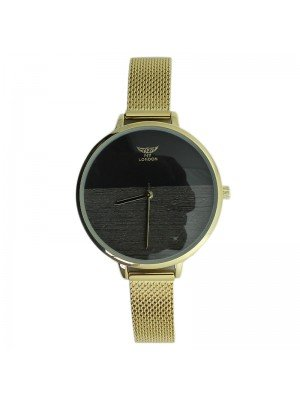 NY London Ladies Round Metal Mesh Bracelet Strap Watch - Gold & Black
