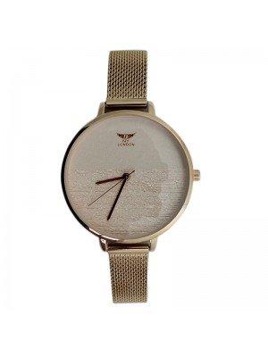 NY London Ladies Round Metal Mesh Bracelet Strap Watch - Rose Gold