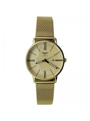 NY London Ladies with Date Display Metal Mesh Bracelet Strap - Gold