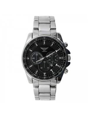 NY London Men 3 Dial Design Metal Bracelet Watch - Black & Silver