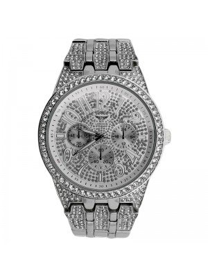 NY London Mens 3 Dial Design Bling Fashion Watch - Silver