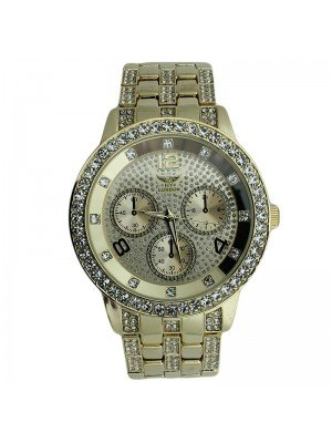 NY London Mens Crystal Design Fashion Watch - Gold