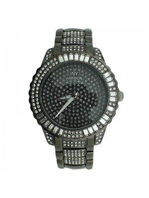 NY London Mens Crystal Design Metal Bracelet Watch Strap - Black