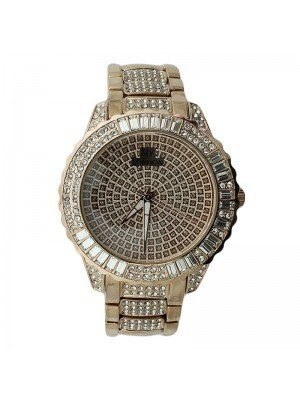 NY London Mens Crystal Design Metal Bracelet Watch Strap - Rose Gold