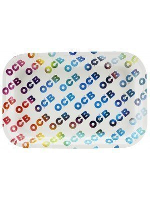 Wholesale OCB White Multicolour Metal Tray Medium - 29 x 19 cm