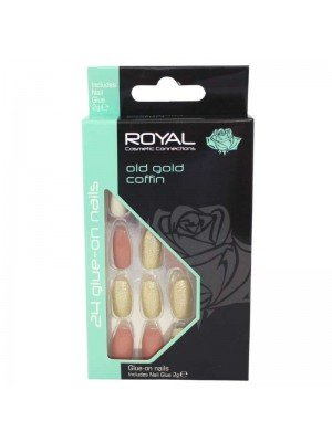 wholesale Royal Cosmetics 24 Glue-On Nail Tips - Old Gold Coffin