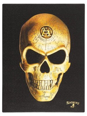 Omega Skull Canvas Plaque By Alchemy - 25 x 19cm