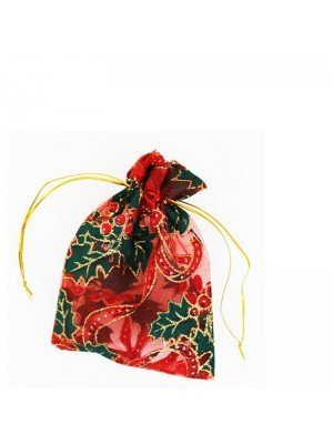 Organza Gift Bag- Christmas Pattern (10 x14cm)