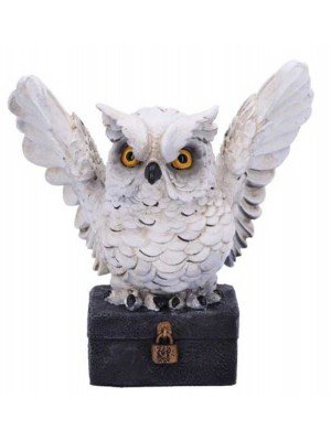 Wholesale Archimedes White Horned Owl Perched on a Locked Box Figurine