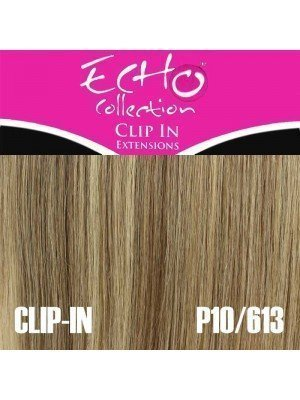 "Echo Human Hair Extensions - Clip-in - Colour: P10/613 - 18"""