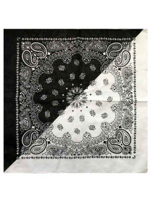 Wholesale Paisley Bandana - Two Tone (Black & White)